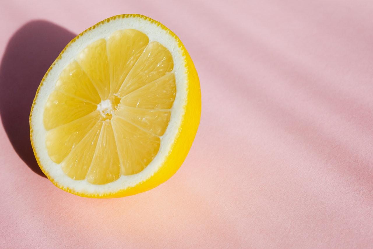 lemon on pink background